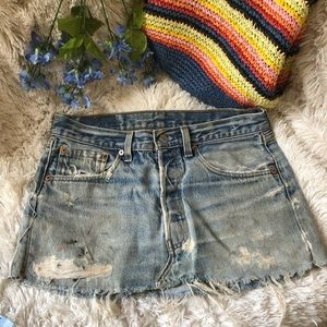 Vintage Levi's 501 jean Skirt Petros denim M